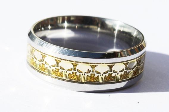 Anel Do Justiceiro Titanio Cor Ouro (18,0mm ) Nº 17