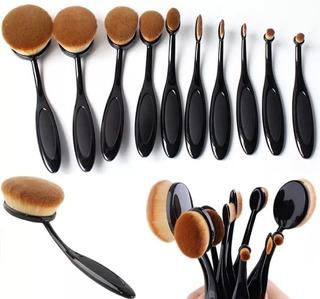 Kit De 10 Brochas Oval Alta Calidad Maquillaje Envio Gratis