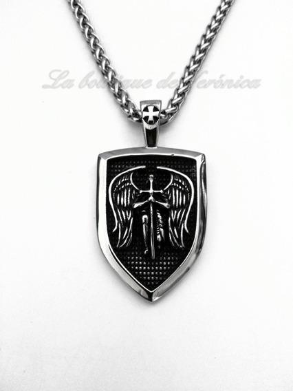 Medalla San Miguel Arcángel Grande Acero Cadena Cilindrica