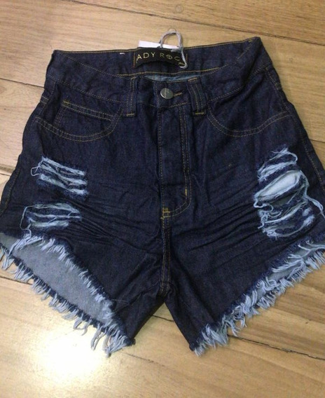 Short Feminino Destroyed Cos Alto Cintura Alta Hot Jeans