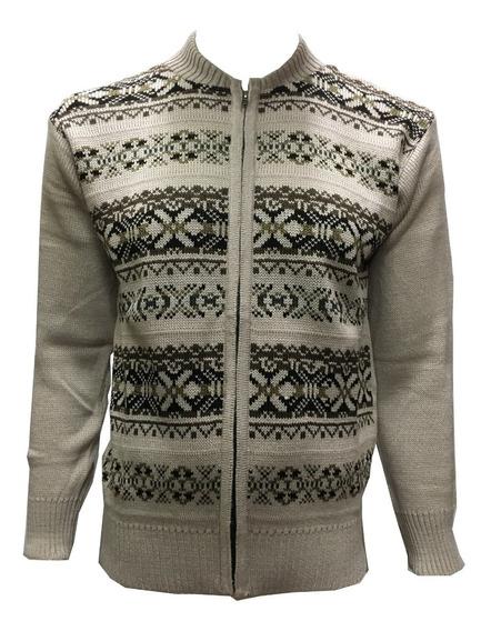 Suéter Negro Con Cierre Completo Y Figuras Hombre