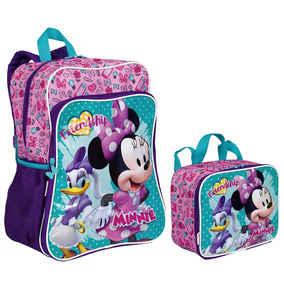 Kit Mochila Minnie Mouse 19m Plus + Lancheira Original