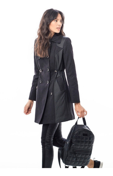 Trench Piloto Negro Gamuza Impermeable Y Siré 2n2 Giacca