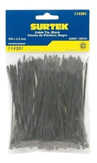 Cincho Plástico 100 X 2.5mm100 Piezas Negro Surtek 114201