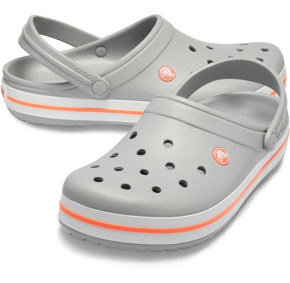 Crocs Originales Crocband Gris Naranja Unisex | Hombre Mujer