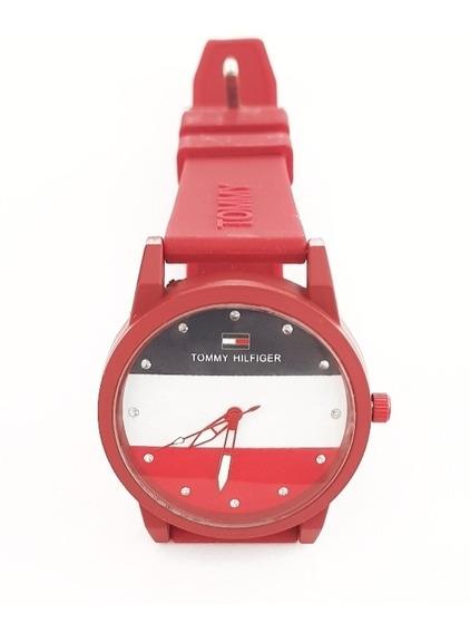 Promoção - Relógio Tomy Hilfiger Unissex Moda- Vermelho