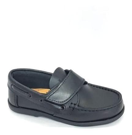 Zapato Cuero Negro Abrojo Niño Vestir Colegial Escuela
