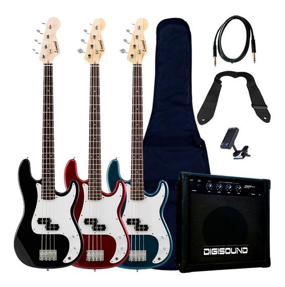 Bajo Leonard 4 Cuerdas + Amplificador 20w Y Accesorios