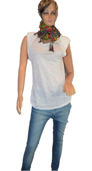 Maria Cher Musculosa De Algodon Y Lino Modelo Cera Blanca