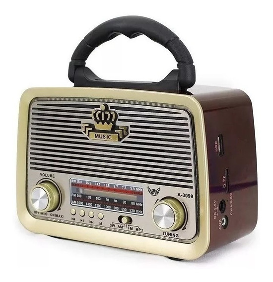 Caixa Som Antiga Retro Vintage Radio Am Fm Bluetooth Sd Top