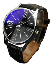 Relógio Masculino Yazole315 Pulseira De Couro Preta 3atm