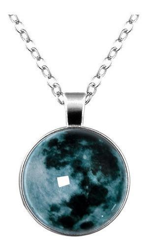 Collar Luna Llena Brillante Brilla En La Obscuridad 3d