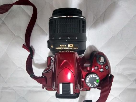 Câmera Nikon D3200 Vermelha Completa Seminova Com Bolsa