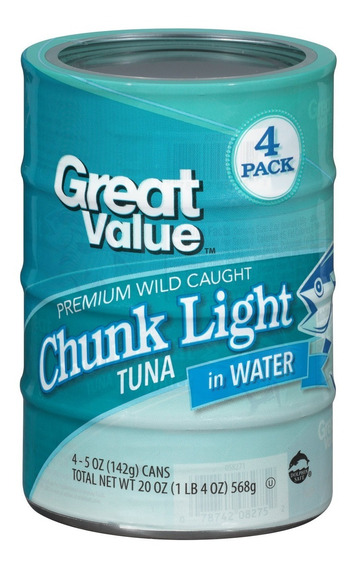 Atún Enlatado En Agua Great Value 4 Unidades 142gr