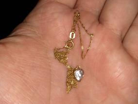 Colar De Ouro 18k Lindo Com Pedra Ornamentada Italiana