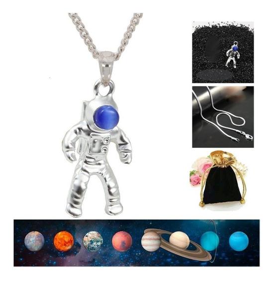 Colar Com Pingente Pewter Astronauta Galaxia Spaceman