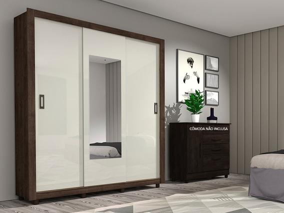 Guarda-roupas Tcil Malibu Com 3 Portas, Espelho E Pés - Cumaru / Off White