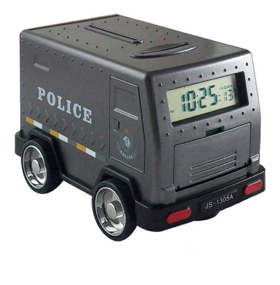 Alcancía Camión Policial Con Reloj Despertador