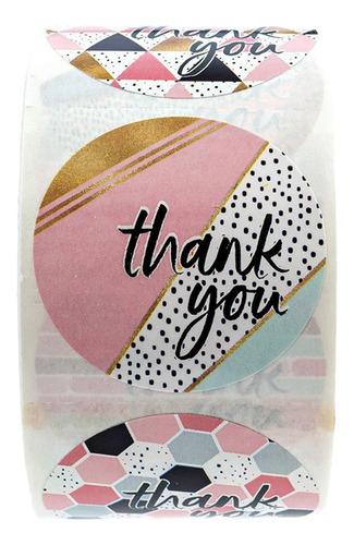 Imagen 1 de 5 de 500/rollo Kraft Thank You Stiers - Etiquetas Adhesivas De Pa