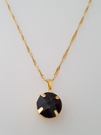 Pingente Cristal Negro + Gargantilha Banhada Ouro. C1p161