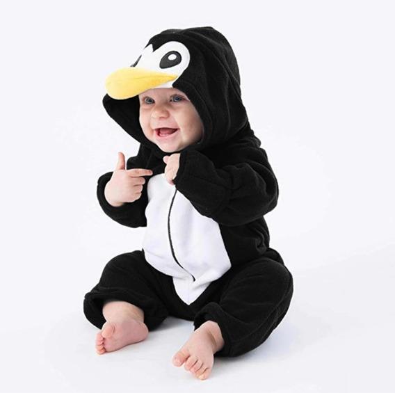Macacão Bebê Animais Parmalat Pinguim Soft Inverno Com Luva
