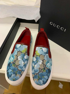 Padrísimos Tenis Gucci Blooms Canvas Azul 23 Originales!!