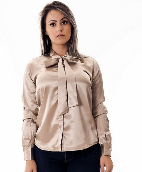 Camisa Feminina Laço Maud Le Dourada Cetim Pimenta Rosada