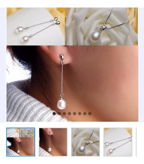 Aretes Y Collar De Perla Cultivada Y Plata Esterlina