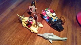 Lego 3 Personajes Accesorios Medieval Piloto Lancha Buzo