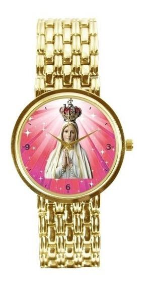 Nossa Senhora De Fátima Relógio Feminino Dourado 3330