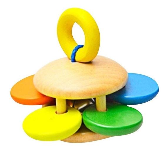 Chocalho De Madeira Bebê Colorido Montessori Menino Menina