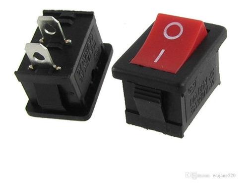 Mini Suiche Cuadrado Rojo On Off 3a 2 Pines Kcd1-11