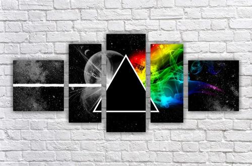 Imagem 1 de 5 de Quadro Decorativo Pink Floyd Banda Mosaico Com 5 Peças 001