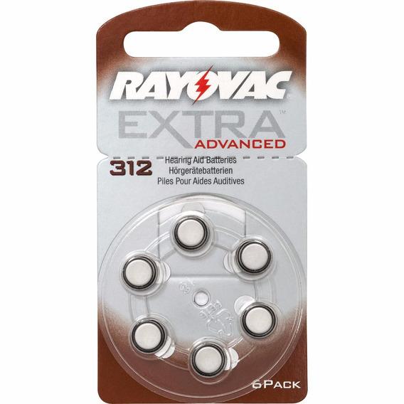Cartela De Pilhas Para Aparelhos Auditivos Rayovac Extra 312