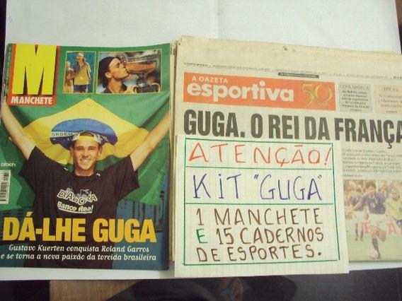 Revista E Encartes Jornais Sobre Guga Campeao Roland Garros