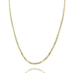 Corrente Masculina Malha Piastrine 1x1 4mm Folheado Ouro 18k
