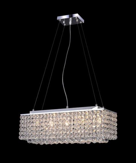 Pendente Retangular De Cristal Transp 60cm