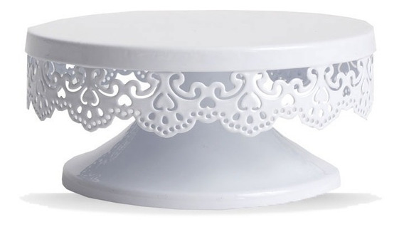 Plato Base Pie 15cm Metal Decorado Para Torta Reposteria