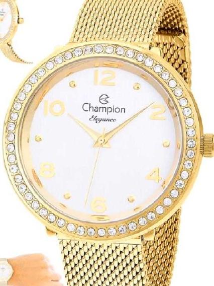 Relógio Champion Esteira Dourado Cn24173h - Original E Nf