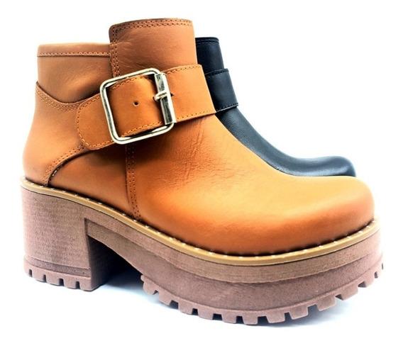 Botas Zapatos Borcego Cuero Vacuno Mujer Savage Bor-363