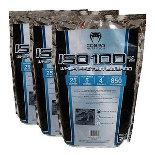 Kit 3 Pacotes Whey Iso 100 6 Kilos Chocolate Cobra Nutrition