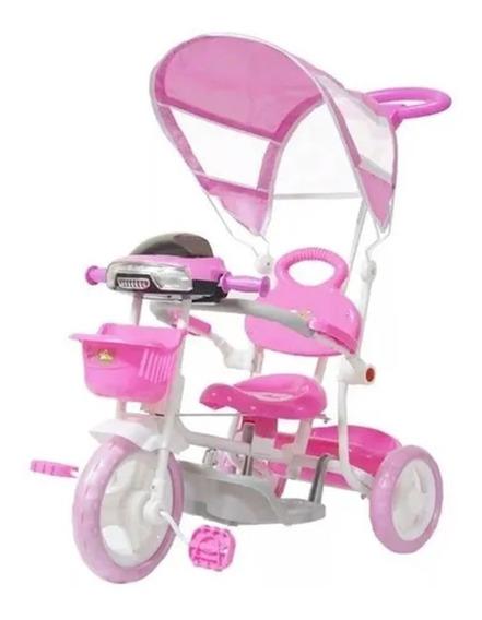 Triciclo Infantil De Pedalar Rosa C/ Cesta E Luzes Importway
