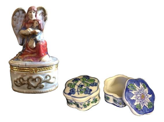 3 Piezas Joyero Alhajero Vintage Antiguedades Porcelana