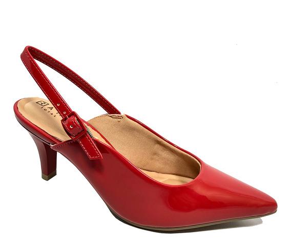 Sapato De Bico Fino Ramarim Verniz Feminino - Vermelho