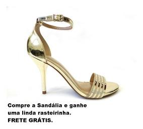 Sandália Feminina Salto Fino Dourada Brilhante
