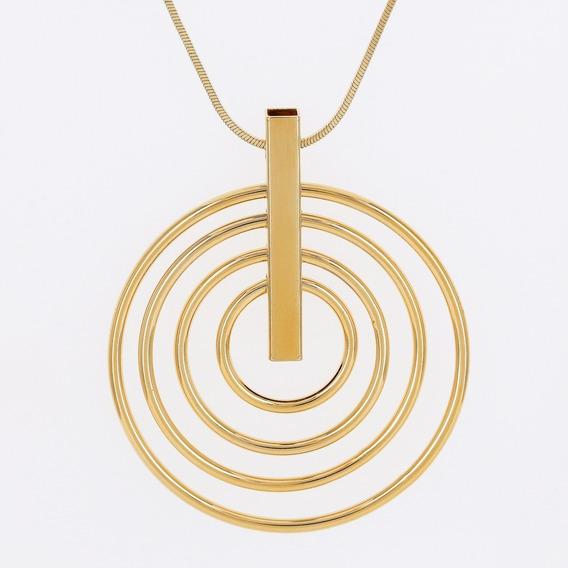 Colar Dourado Circle Banho Em Ouro - Morana