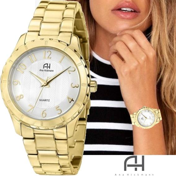 Relógio Feminino Ana Hickmann Dourado Em Aço Ah28580h