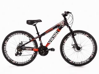 Bicicleta Vikingx Tuff 25 Freeride Aro 26 Freio Á Disco 21 M