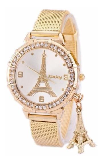 Relógio Feminino Luxo Torre Eiffel Pulseira Aço Gold