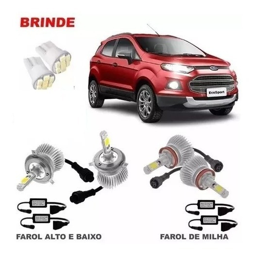 Kit Lampada Super Led Ecosport 2013 2014 2015 6000k